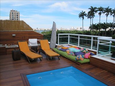 Jardim Botânico apartment rental - DECK VIEW: IMPERIAL TREES OF BOTANIC GARDEN, LAGOON AND IPANEMA AND LEBLON BACK