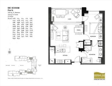Floor plan of suite 418 Hokulani Tower.
