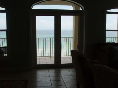View from interior of condo looking out at the Gulf