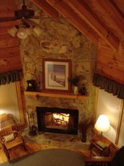 Blue Ridge cabin photo - View of living area & wood-burning fireplace