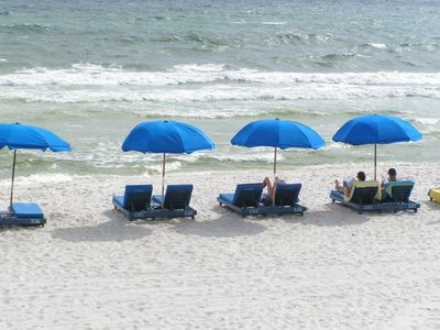 Free Beach Service March 1 - October 31 includes Umbrella and 2 padded chaises