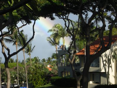 Rainbows are a common sight on Maui.  This photo was taken from our lanai.