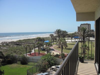 Large balcony overlooking the beach and the park. Unobstructed views of ocean.