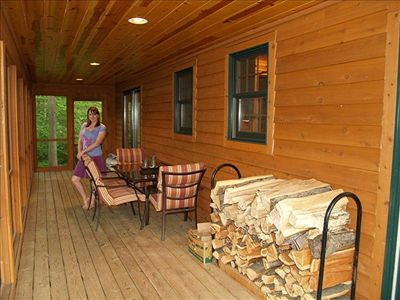 Both cabins have a spacious screened-in back porch the entire width of the house