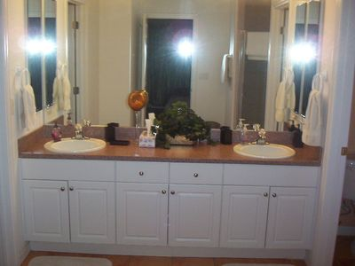 Double sink vanity MAster Bath with walk in shower