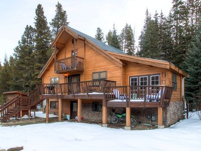 luxury winter rental cabins back vacation by colorado co rentals log yard cabin breckenridge
