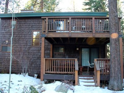 Kings Beach lodge rental - Down Stairs covered deck off of Ski Den bedroom and upstrs deck off kitchen