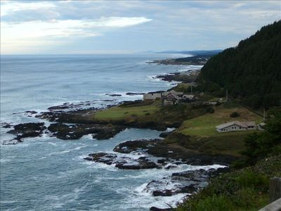 View of the Cove peninsula as seen from Cape Perpetua.