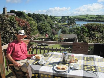 Skibbereen house rental - View of garden and tennis court from deck