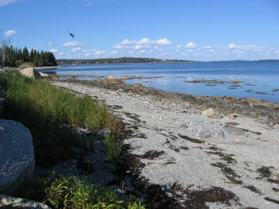 Beach in front of the cottage at mid-tide, looking north