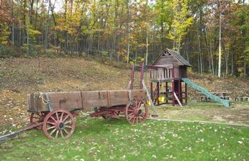 The playground and our old wagon