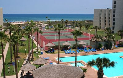 View of resort amenities from balcony