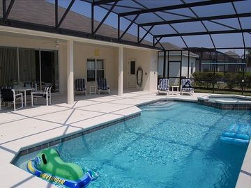 30 ft by 15 ft heated pool/spa with extended deck