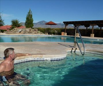 The pool area also includes a spa -- just steps away from the Tubac town home.