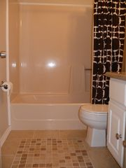 San Luis Pass house photo - Full bathroom with granite counter & tile floor