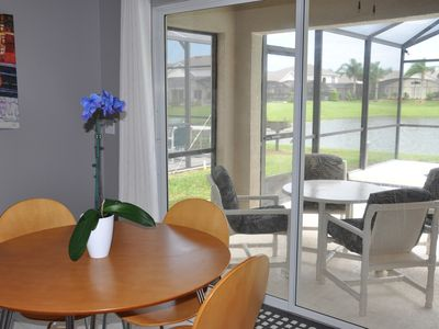 Extra dining space is available on the covered lanai