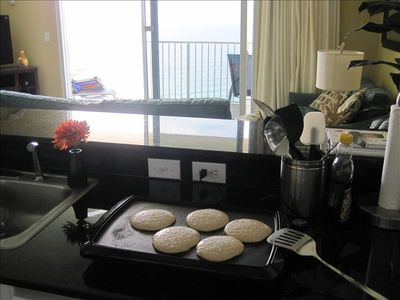 Best view and a great way to save money-homemade pancakes at the beach!