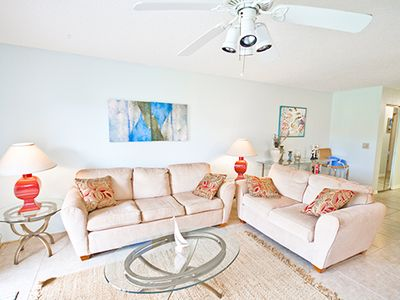 Relax in our cozy living room and enjoy condo vacation living