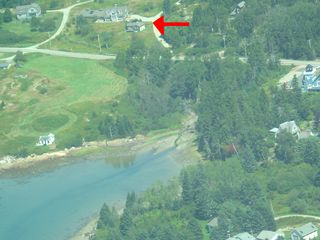 Acadia National Park cabin photo - Red arrow shows cabin, owner's house in background