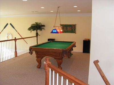 Oak clawfoot pool table upper loft overlooking lake and fountain and family room