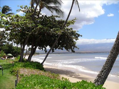 View from grassy area looking down the beach towards Kihei. Start walking!