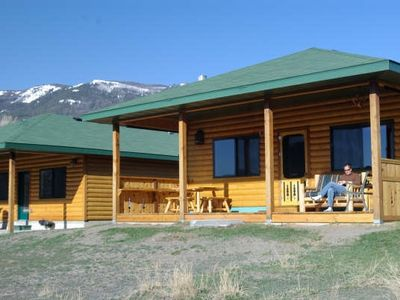 Comfortable deck to view the Yellowstone River.