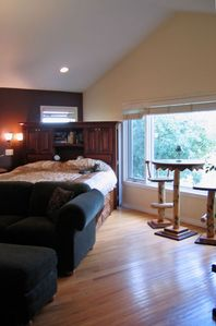 Master Bedroom View. Stunning backyard with large pines and no neighbors!