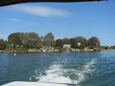 looking back from the boat---the cottage is in the middle