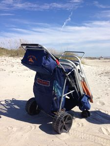 Tommy Bahama beach cart provides an easy stroll to the beach