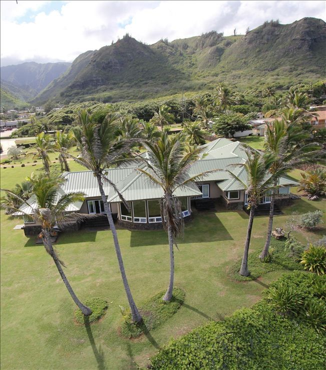 Hauula house rental - Aerial photograph taken from above the ocean