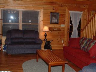 Wears Valley cabin photo - Comfortable living area with a 46 inch T.V. / DVD and Satellite