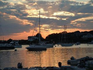 Pocasset house photo - red brook harbor sunset from chart room and our beach