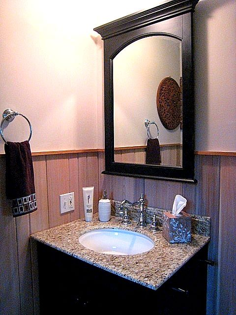 Whitewashed Cedar Wainscoting & Granite Vanity