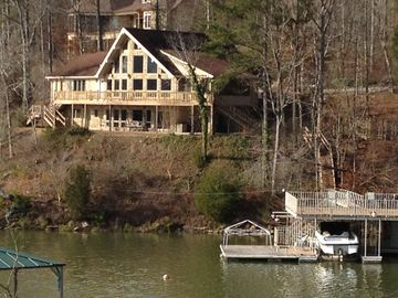 Lewis Smith Lake house rental - Winter view of house and boat dock
