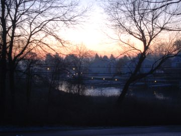 A sunrise view of Saugatuck Harbor, just across the way
