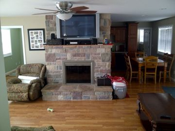 fire place with entertainment center