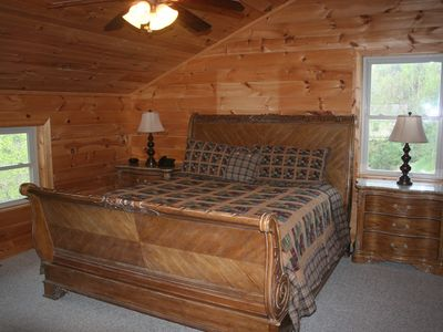 Upper level master suite with king has separate bath w/walk in shower and tub