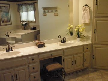 Master Bathroom has New Cabinets, Garden Tub and Big Separate Shower