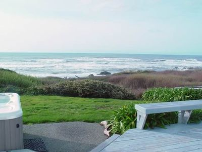 Limitless beach/ocean view from hot tub, deck, and every room of the beachhouse.