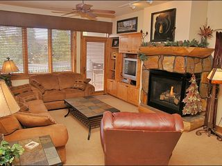 Steamboat Springs condo photo - Living Room showing Fireplace, Entertainment Center