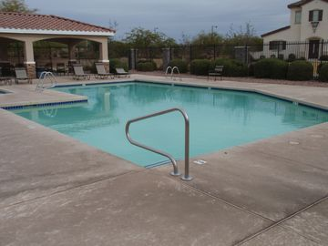 Surprise house rental - Pool Area with showers and areas to be out of the sun.
