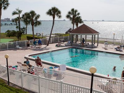 Great view of the bay and beach from the heated pool. Watch dolphins play