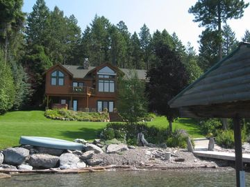 View of the house and private beach from the boat dock.