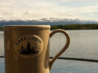 Big Lake cabin photo - coffee on the dock