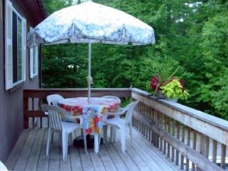 The raised deck is a great place to enjoy breakfast.