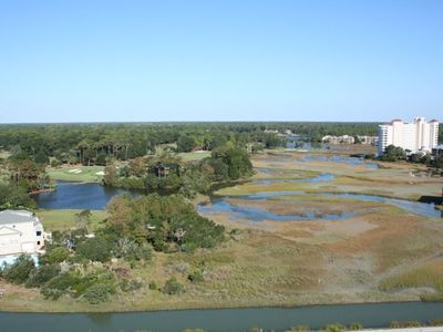 View of salt marsh and Dunes Club Golf course from front balcony