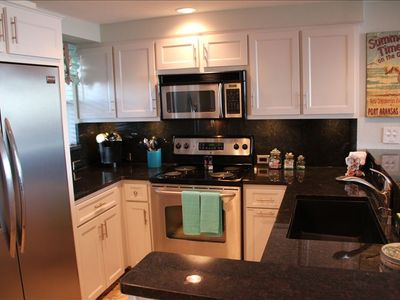 Port Aransas condo rental - Newly updated kitchen with granite and stainless