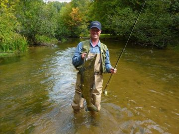Fishing for Salmon, Steelhead, and Brown Trout on local streams.