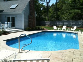 New Seabury house photo - Pool view #2 = Patio seating for 6 off Family Room