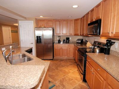 View of Large Kitchen, Granite Counters and Maple cabinets